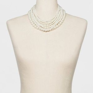 Jewelry - Layered Faux Pearl Statement Necklace Gold Clasp